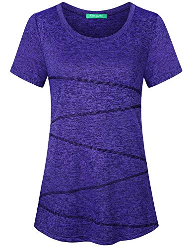 Kimmery Tunic Tops for Leggings for Women, Short Sleeve Breezy Airy Nice Drape Sport Shirts Scoop Neck Light Weight Bouncy Stretchy Tshirt Beach Vacation Journey Simple Classic Tee Deep Grape Large