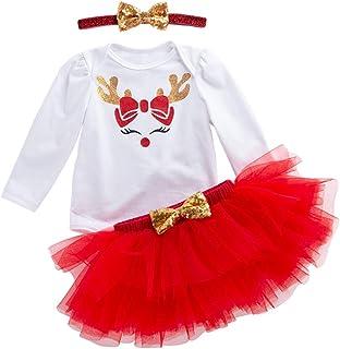 YuanDian Bebè Bambina 3pcs Natale Costume Completini Set Partito Vestiti Abiti Neonato Battesimo Babbo Natale Abbigliamento Natalizio Tutu Gonne + Tutina + Fascia