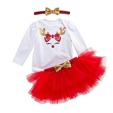 d12c1881f67e1 YuanDiann Bébé Fille 3 Pcs Déguisement Noël Vêtement de Baptême Robe  Nouveau Né Habit De Noel
