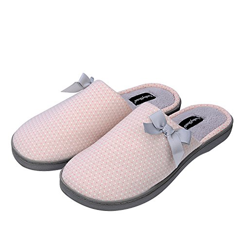 House Insole Slippers Dot On Slip Lining Shoes Memory Foam Women Printed with Fluffy Pink Bowknot KushyShoo PXqFYS