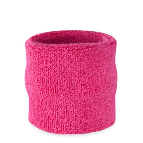 Suddora Wrist Sweatband Also Available in Neon Colors - Athletic Cotton Terry Cloth Wristband for Sports (Neon Pink)(1 (Pink Solid Wristband)