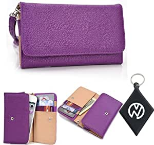 Purple Wallet Phone Cover Wristlet Clutch Case Fits Toshiba Windows Phone IS12T + NuVur 153; Keychain |ESAMMTU1|