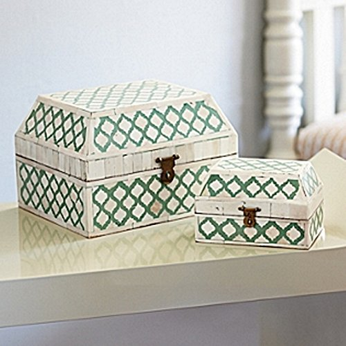 Butler bone Inlay box Green Handmade Inlay Furniture
