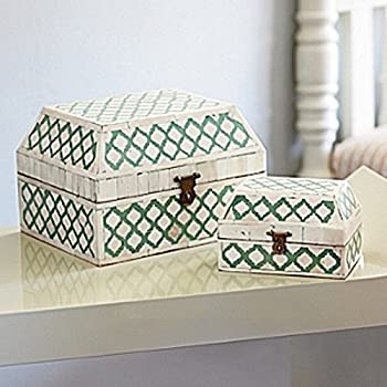 Butler bone Inlay box Green Handmade Inlay Furniture