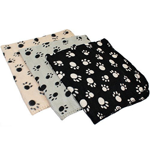NiceWave Pet Paw Print Blanket Pet Soft Cushion Mats Rug Warm Pet Sleeping Blanket Mat Pad Bed Cover for Cats Dogs Kitten Puppy 70x 70cm/28in(Black/Beige/Gray,Random Color) Nice Choice