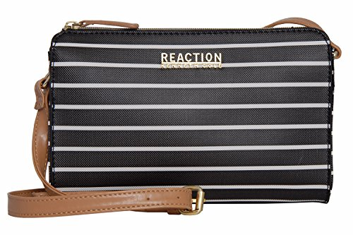 Kenneth Cole Reaction KN1549 Duplicator Stripe Crossbody Messenger Bag (BLACK/WHITE)
