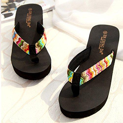 ℱLOVESOℱ Floral Ribbon Satin High Heel Beach Sandals Wedge Platform Thongs Slippers Flip Flops Summer Black by ℱLOVESOℱ (Image #2)