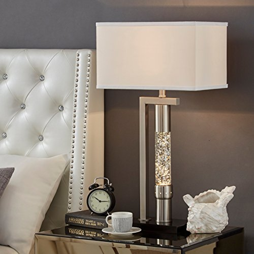 Modern Metal Sand Nickel Finish Table Lamp with Dancing Water Feature and Rectangular Shade - Includes Modhaus Living ()