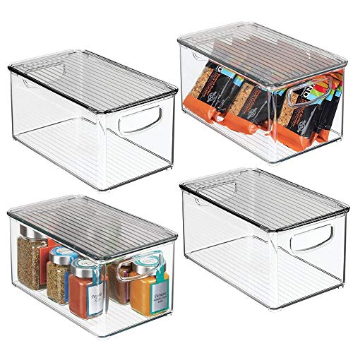 "mDesign Plastic Stackable Kitchen Pantry Cabinet, Refrigerator, Freezer Food Storage Bin Box with Handles, Lid - Organizer for Fruit, Yogurt, Snacks, Pasta - 10"" Long, 4 Pack - Clear/Smoke Gray"