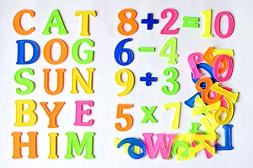 Swarnalekha® English Alphabet A to Z & Number Set, Non-Toxic & Non-Magnetic  2 inch Play & Learn Educational Plastic Set for Kids (Pack of 51)
