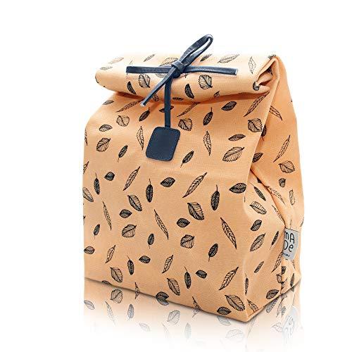 (Waxed Canvas Lunch Bag, Reusable, 100% Biodegradeable, Eco friendly, Waterproof, Men, Women, Kids, Boy, Girl)