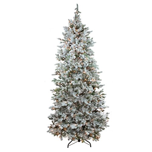 Northlight Pre-Lit Flocked Slim Colorado Spruce Artificial Christmas Tree with Clear Lights, 7.5' (Christmas Colorado Tree)