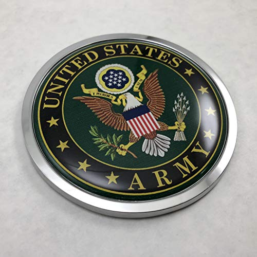 BestLicensePlateFrames US Army 3D Domed CAR Emblem Badge Sticker Chrome Metal Round Bezel