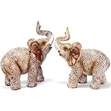 Feng Shui Lovely Pair of Polyresin Elephant Trunk Statue Wealth Lucky Figurine Home Decor Housewarming Gift US Seller