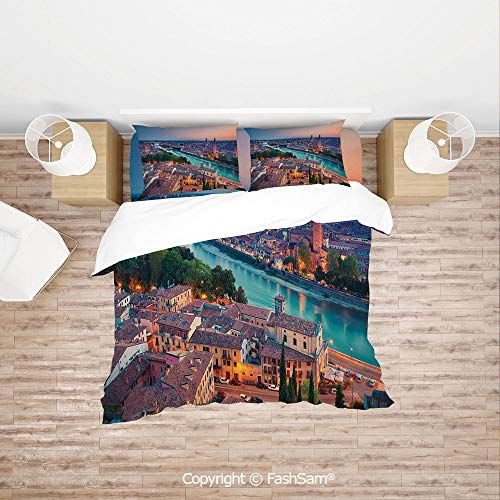 FashSam Duvet Cover 4 Pcs Comforter Cover Set Verona Italy During Summer Sunset Blue Hour Adige River Medieval Historcal for Boys Grils Kids(Queen)