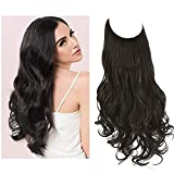 SARLA Halo Hair Extensions Black Brown Long Wavy Curly Synthetic Hairpieces for Women Adjustable Size Transparent Wire Headband Heat Friendly Fiber 22 Inch 5.3 Oz No Clip