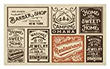 Lunarable Old Newspaper Doormat, Various Advertisement Signs Barber Shop Restaurant Camping Retro Style, Decorative Polyester Floor Mat with Non-Skid Backing, 30 W X 18 L inches, Brown Orange Tan