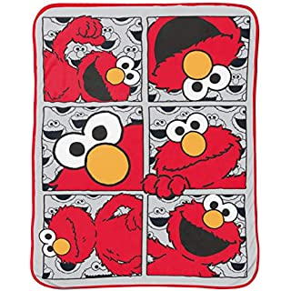 Jay Franco Sesame Street Hip Elmo Throw Blanket - Measures 40 x 50 inches, Kids Bedding - Fade Resistant Super Soft Fleece - (Official Sesame Street Product)