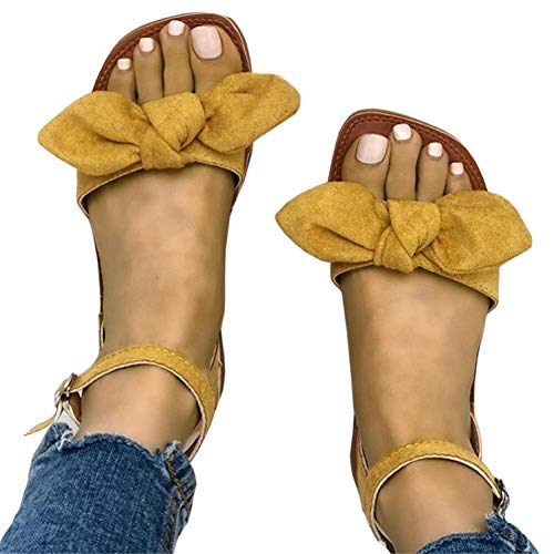 Syktkmx Womens Open Toe Bowtie Ankle Strap Platform Flats Sandals