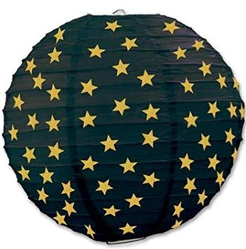 hersrfv home Black & Gold Stars Paper Lantern Set 3 Pack Movie Red Carpet Party Decoration