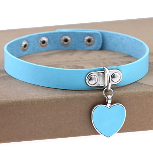 AKOAK Fashion Cool Rock Style Steampunk Punk Goth Heart-Shape Pendant Link PU Leather Collar Choker Necklace(Light Blue)