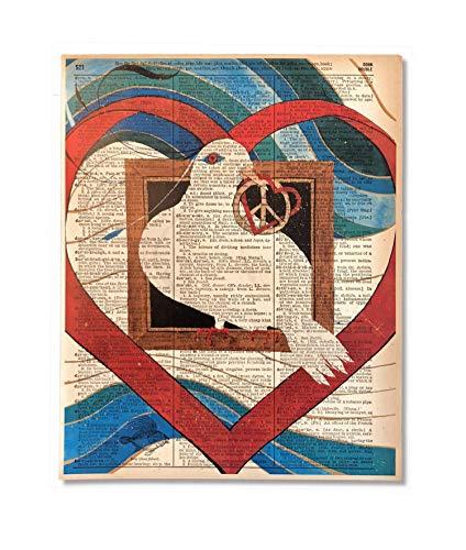 Peace Dove Love Upcycled Vintage Dictionary Art Print 8x10 UNFRAMED Love (Peace Love Dove)