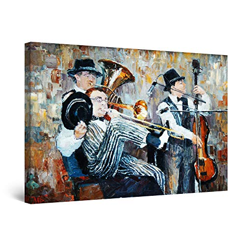 Startonight Cuadro Moderno en Lienzo - Orquesta de Jazz - Pintura Abstracta para Salon Decoracion Grande 80 x 120 cm