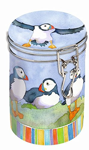 PLAYFUL PUFFINS - Emma Ball Colourful ROUND Coffee Tin / Tea Caddy / Kitchen Storage Tin/Canister - Clip Lid - 16cm Buzz
