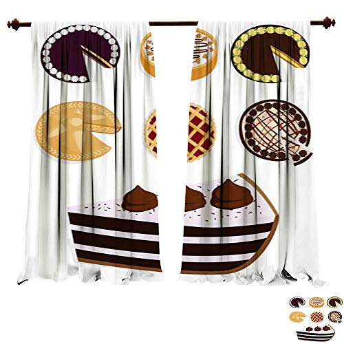 DragonBuildingMaterials Panels Sun Blocking Curtains Homemade Organic Pie Dessert Vector Illustration Fresh Golden Rustic Gourmet Bakery Multi-Function Noise Reducing Performance -