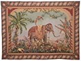 Hallmart Collectibles 60 by 44-Inch French Tapestry of an Antique Elephant