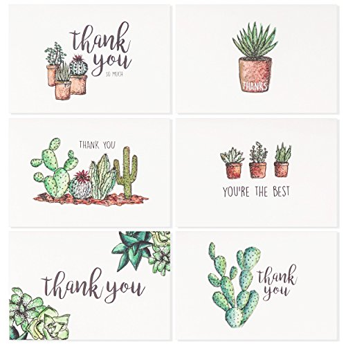 Blank Watercolor Thank You Cards: 36 Assorted Boxed Pack - Succulent Floral Green & Black & White Card Designs: Bulk Note Box for Graduation, Wedding, Bridal Party, Baby Shower, Men & Women Sympathy (White Sympathy Note)