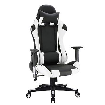 Silla de escritorio, reclinable ejecutivo Racing Gaming Style giratoria de cuero de poliuretano Función de inclinación y bloqueo de sillón reclinable Silla ...