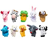 Super Value - Finger Puppets Animal- 10 pcs soft plush - Kids Educational Toy - Children storytelling Props - Baby Bed Stories Helper Doll - Hippopotamus, Elephant, Rabbit, Duck, Cattle, Dog, Panda, Bear, Frog and Mouse