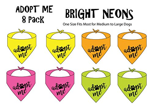 8 Pack of Adopt ME Bandanas - NEON (One Size Fits Most for Medium to Large - Dog Collar Sleeve Bandana
