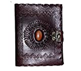 Leather diary Fair Deal  Handmade stone diary  embossed notebook  travel book  unlined pages  vintage look  c-lock planner  writing diary  brown