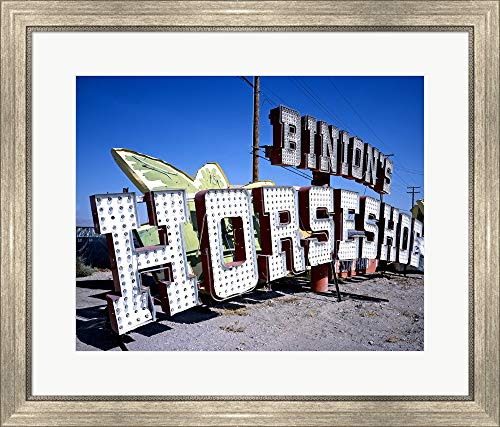 Binion's Horseshoe Casino Sign at Neon Boneyard, Las Vegas Framed Art Print Wall Picture, Silver Scoop Frame, 28 x 24 inches