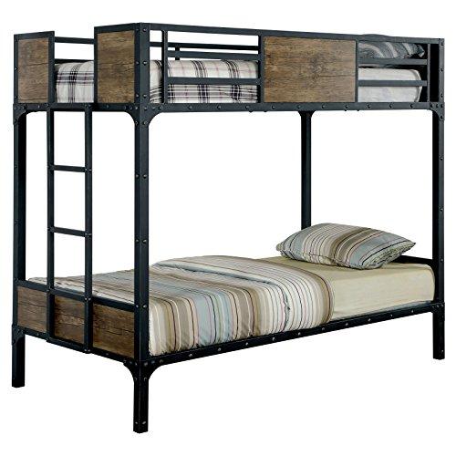 Furniture of America Brighton Wood Panel Twin Over Twin Bunk Bed -