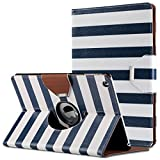 iPad Air Case,ULAK 360 Degrees Rotating Stand Case Cover for Apple iPad Air (2013 Release) With Automatic Wake/Sleep Function (Navy Blue/White Stripes)