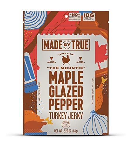 Made by True Jerky, 100% US Beef & Turkey, Paleo/Keto/Whole 30 Friendly, Floss Included (Maple Glazed Turkey, 5 Pack)
