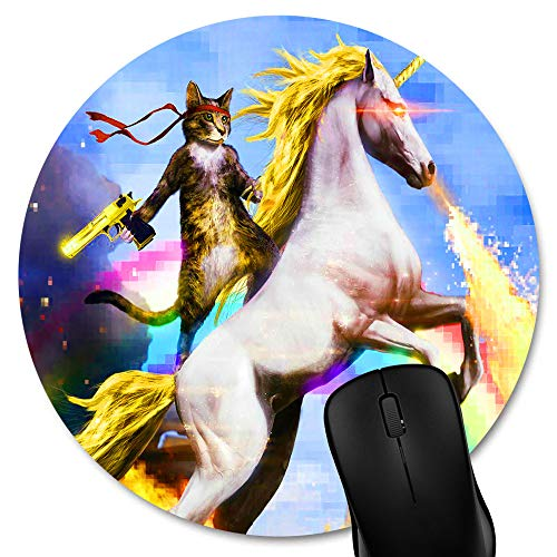Knseva Cute Round Mouse Pad Funny Cat Dressed as Rambo with Gold Gun Riding a Glowing Fire Breathing Rainbow Unicorn Circular Mouse Pads
