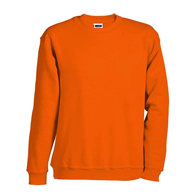 James & Nicholson Hombre Sudadera Sudadera Ronda Sudadera Pesado - algodón, Naranja, 80%