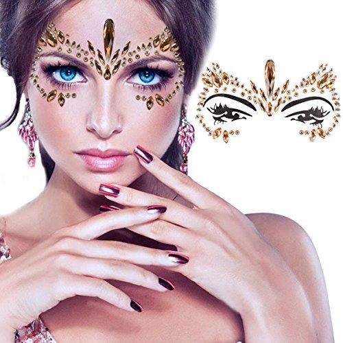 - Kapmore Rhinestone Face Tattoo Removable Face Gem Jewel Sticker (Light Coffee)