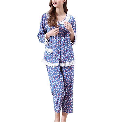Algodón Pijamas De Las Mujeres Del Resorte Conjunto Traje De Una Pieza Blue