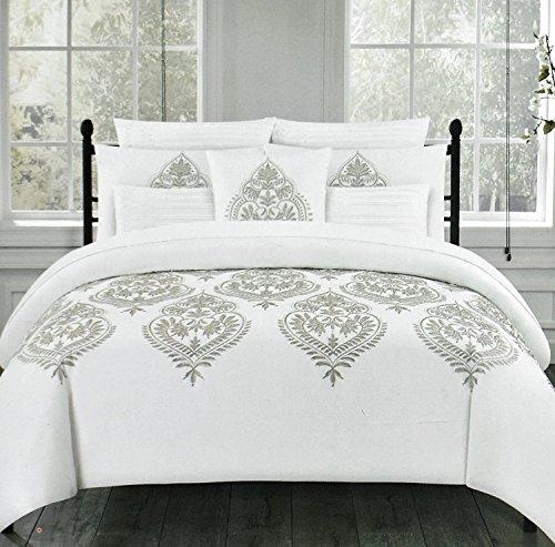 Tahari Home Marossy Embroidered Damask Medallions 3pc Full Queen Duvet Cover Set Gray White Grey (Tahari Queen Set Comforter)