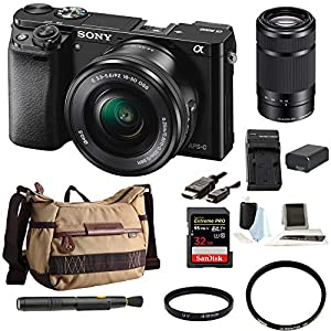 51B8KiFhb0L. SS300  - Sony Alpha a6000 24.3MP Mirrorless Digital Camera with 16-50mm and 55-210mm Lenses Bundle (10 Items)