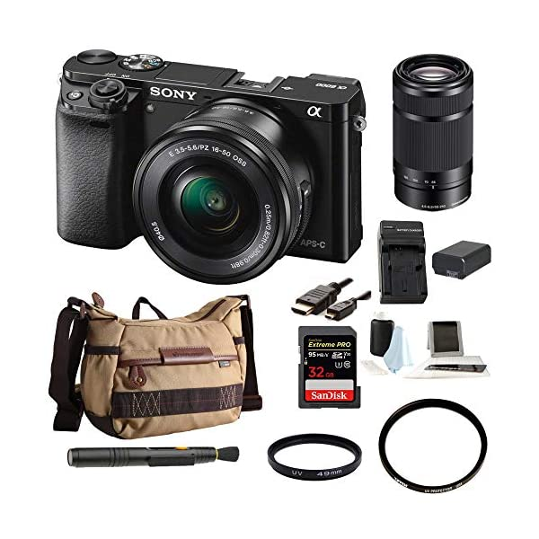 51B8KiFhb0L. SS600  - Sony Alpha a6000 24.3MP Mirrorless Digital Camera with 16-50mm and 55-210mm Lenses Bundle (10 Items)