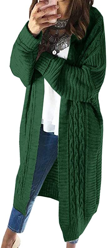 Ferrtye Womens Oversized Chunky Long Cardigan Sweaters Open Front Cable Knit Long Sleeve Duster Cardigans
