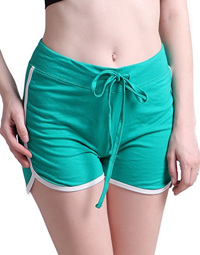 Fitness Theme Wear Costumes (HDE Junior's 80s Retro Gym Shorts Drawstring Waist Active Lounge Shorts (Teal, X-Large))