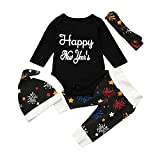 Hipea Happy New Year's Clothes Set Baby Girls Boy Romper+Pants+Hat Headband Baby Clothes for Girls Boys
