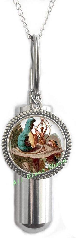 AlloGlassoO0Charm Collar URN CREMATION URN de Wonderland, oruga con una pipa de agua en champiñón, joyería de ilustración encantadora, AS0255
